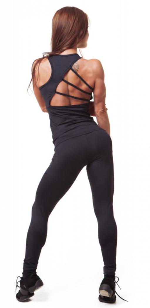 Спортивный удлиненный топ с открытой спиной для фитнеса и танцев DTKT98-1  черный e6106f0a862
